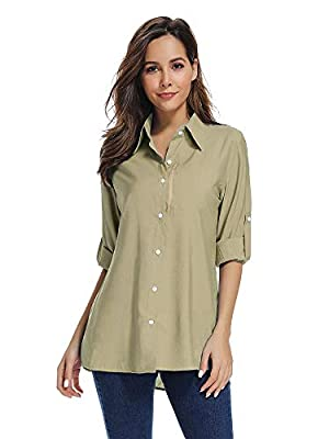 Women's UPF 50 Long Sleeve Sun Protection Shirts Quick Dry Outdoor Fishing Hiking Travel Shirt (5019 Light Khaki S)