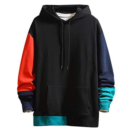 Overdose Sudadera Hombres Patchwork Slim Fit Hoodie OtoñO Moda Outwear Nueva Blusa Adolescente Top 2018 Sudadera (Large, X-Amarillo)