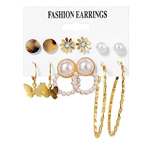 FEARRIN Pendientes a Granel Conjunto de Pendientes para Mujer Pendientes de Perlas con borlas para Mujer Joyería Bohemia Pendientes geométricos H32-ZL2424-3
