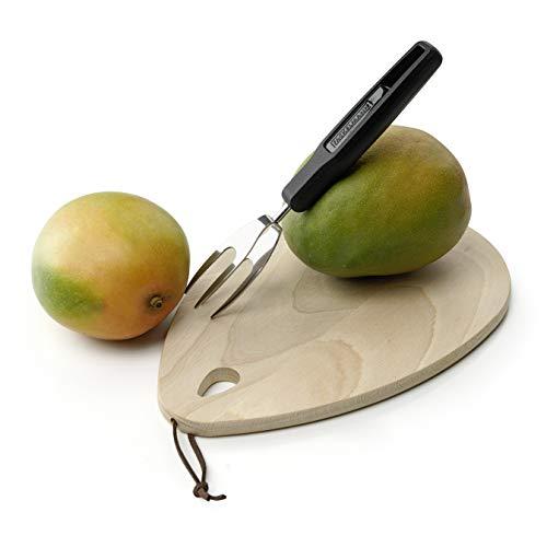 FACKELMANN Mangogabel 21 cm, hochwertiger Küchenhelfer mit Funktionsteil aus Federstahl, kinderleichtes aufspießen und festhalten der Mango, sauberes Arbeiten garantiert (Farbe: Schwarz/Silber)