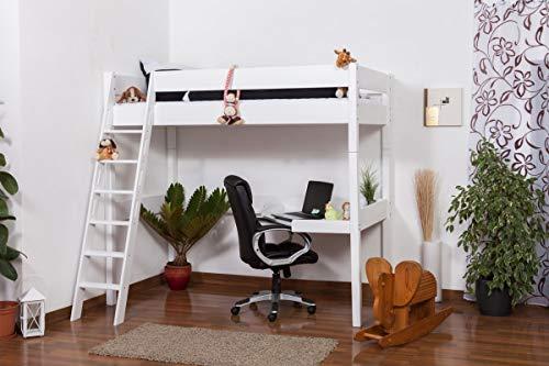 Hochbett Patrick Buche Vollholz massiv weiß lackiert mit Schreibtischplatte, inkl. Rollrost - 90 x 200 cm