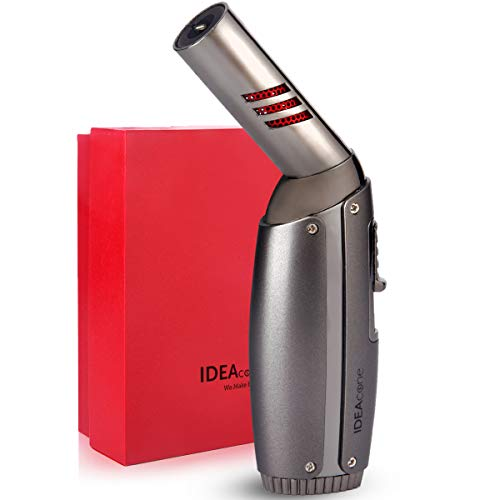 IDEAcone Torch Lighter Blow Torch Kitchen Torch Butane Torch Mini Micro Torch Cooking Torch Rotatable Head Adjustable Flame Refillable Cigar DIY Creme Brulee BBQ and Baking Welding