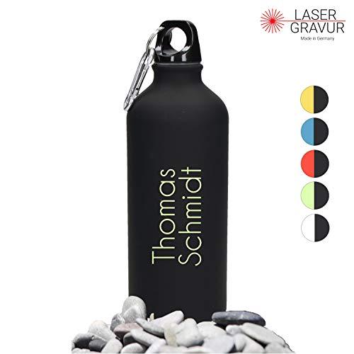Personalisierte Trinkflasche mit Namen 0,6 L aus Aluminium Kohlensäuregeeignet inkl. Farbgravur - Auslaufsichere Wasserflasche BPA-Frei - Sportflasche mit Wunschgravur (Black-Lemon)