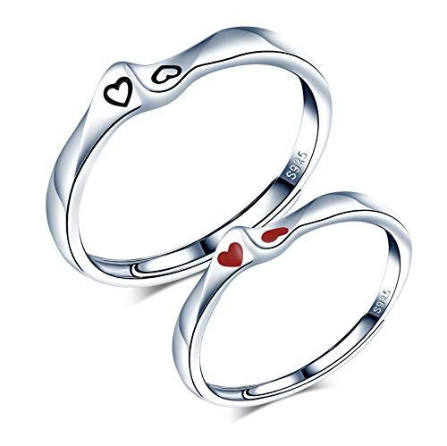 CPSLOVE Anillo de pareja ajustable, anillo de bodas de plata de ley 925, anillo de mujer, anillo de hombre, anillo de compromiso corazón, anillo abierto ajustable