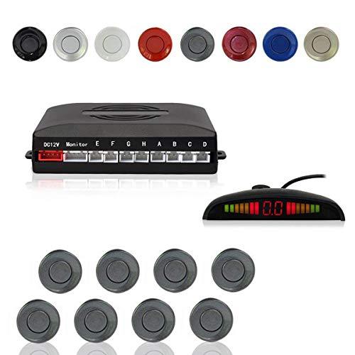 Cocar Radar Aparcamiento Sensor Sistema, Coche Aparcamiento Kit con 8 Estacionamiento Sensores + Detección de Distancia + Sonido Advertencia(Gris Color)