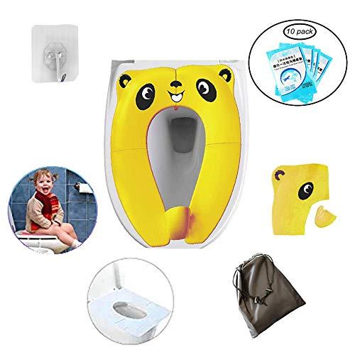 Copriwater pieghevole, grande, antiscivolo, in silicone, da viaggio, portatile, riutilizzabile, per imparare a usare il vasino, per neonati e bambini taglia unica Yellow