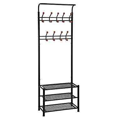 SONGMICS Heavy Duty 18 Hooks Coat Rack with 3-Tier Shoe Rack Shelves for Entryway Metal Black URCR67B