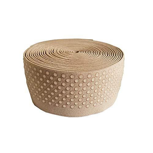 Elastic Tape Dot Silicone Backed Gripper Elastic Non Slip for Garment & Underwear Accessory 5 Yards Per Roll (Cream, 2'')