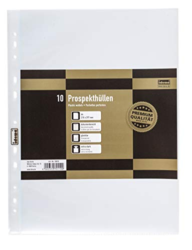Idena 10010 - Prospekthüllen DIN4, 10 Stück, aus PP-Folie, Folienstärke 0,12 mm, extra stark, dokumentenecht, Euro-Lochung, transparent, glasklar