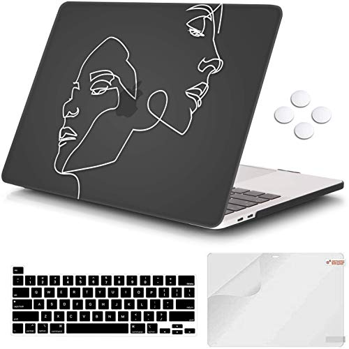 iCasso MacBook Pro 13 inch Case 2020 Release A2338M1/A2251/A2289, Plastic Hard Shell Case & Keyboard Cover & Screen Protector Only Compatible Newest MacBook Pro 13'' with Touch Bar - Face