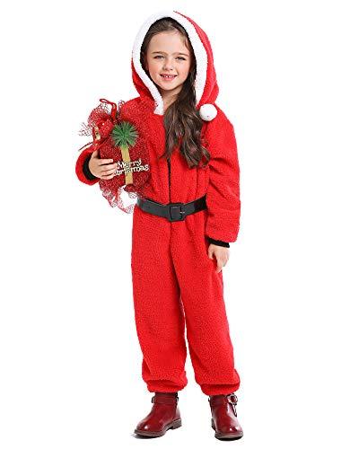 yolsun Kids Onesie Santa Pajamas, Cute Christmas Costume Cosplay for Boys&Girls (Medium, Santa)