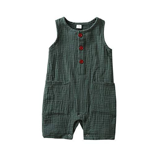 Infant Newborn Baby Boys Girls Cotton Linen Romper Summer Jumpsuit Sleeveless Overalls Clothing Set (Green, 6-12 Months)