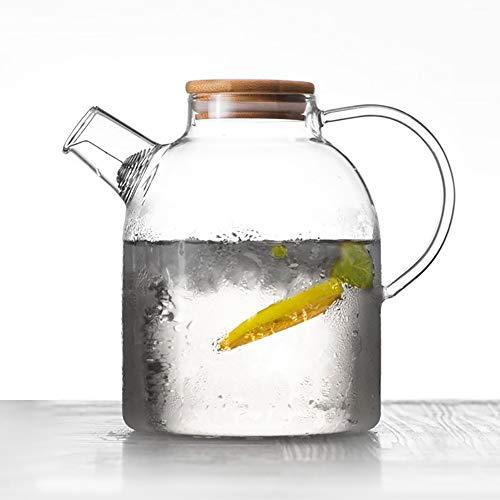 JIFOSDJE Großvolumige Kaltwasserkocher, hitzebeständiger Holzdeckel Kessel, geeignet zur Herstellung von Faulen Schlaf Tee, schwarzen Tee, blühenden Tee Bällen, Grünen Tee (Color : 1800ml)