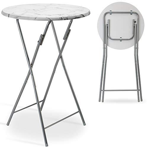 Casaria Stehtisch Klappbar 60 x 110 cm Klapptisch Gartentisch Partytisch Bistrotisch Tisch Metall MDF Weiß Marmor Optik