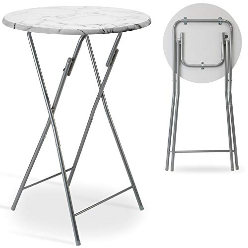 Casaria Tavolino Alto da Bar bistrot Pieghevole Ø60 cm Metallo MDF Tavolo da Bar Bianco Aspetto Legno