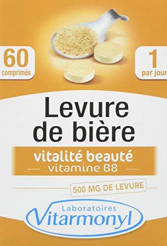 Vitarmonyl - Levure de bière Biotine : santé peau et cheveux - 500 mg - Fabriqué en France - 60 comprimés