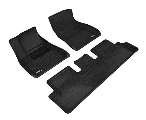 3D MAXpider L1TL00402209 Tesla Model 3 2017–2019 maßgeschneiderte Teppich-Fußmatten, Einlagen, Classic Serie (1. & 2. Reihe, schwarz)