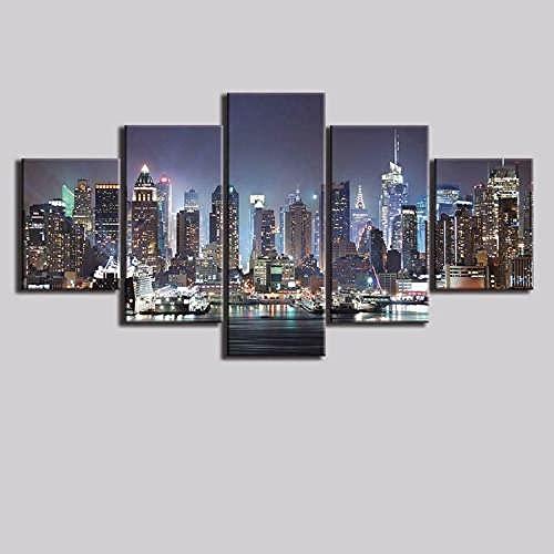 5 Pannelli da Parete Poster 5 Pezzi New York City NYC Night Skyline 5 Quadri Canvas Grandi Dimensioni Stampa su Tela Quadri Moderni Camera da Letto Quadri Moderni Soggiorno 200 * 100cm