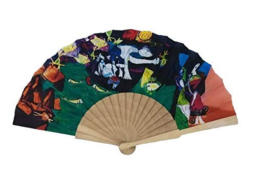 Goodforgoods Abanico con diseño de Las Pinturas de Van Gogh, Klimt y Picasso, de Madera y Tela Ideal para refrescarse en Verano. (Verde)
