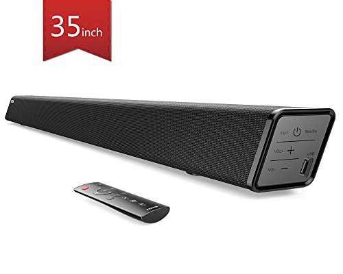 Soundbar, Paiyda 35 inch Bluetooth Sound bar for TV with Built-in Subwoofer, 3 Equalizer Modes, Strong Bass, Remote, Optical/AUX/Coaxial/USB Connection,Wall Mounted Home Theater