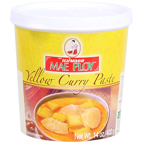 Mae Ploy Yellow Curry Paste, Authentic Thai Yellow Curry Paste For Thai Curries And Other Dishes, Aromatic Blend Of Herbs, Spices And Shrimp Paste, No MSG, Preservatives Or Artificial Coloring (14oz Tub)