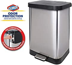 Glad 13 Gallon Stainless Steel Step Trash Can with Clorox Odor Protection of The Lid   Fits All 13G Garbage Waste Bags