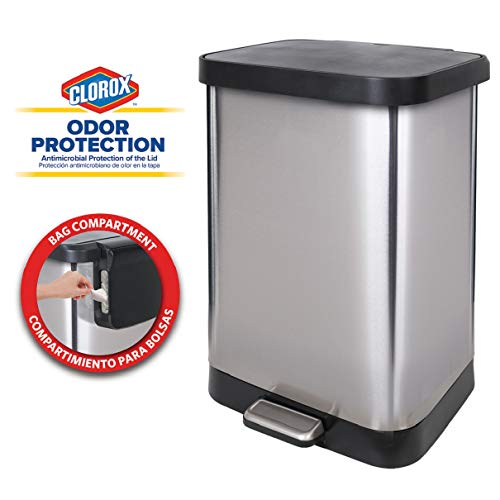 GLAD GLD-74560 Stainless Steel Step Trash Can with Clorox Odor Protection of the Lid