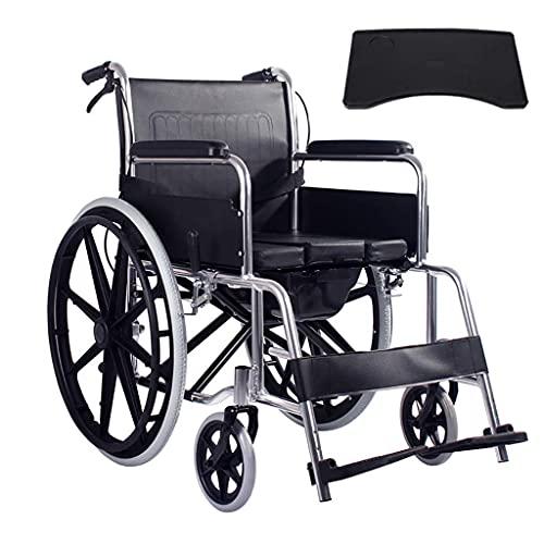GLXLSBZ Silla de Ruedas Plegable ergonómica y Liviana con Frenos de Mano Delanteros y Traseros y reposapiernas basculante Negro Adulto/Aluminio (Regalos Ancianos)