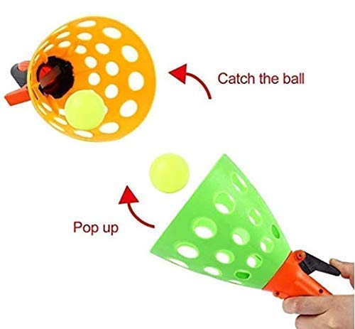 FunBlast Plastic Click and Catch Twin Ball Indoor & Outdoor Game Toy Set for Boys & Girls (Multicolour) - Colour May Vary