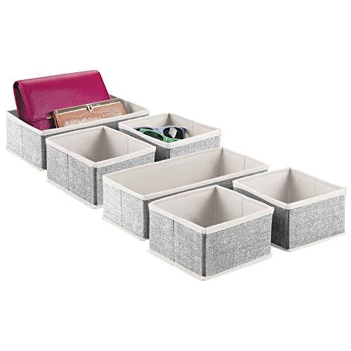 MDESIGN 6er-Set Aufbewahrungsbox – Organizer in 2 Größen fürs Schlafzimmer – Aufbewahrungssystem aus Kunstfaser mit ansprechendem Design – cremefarben/schwarz