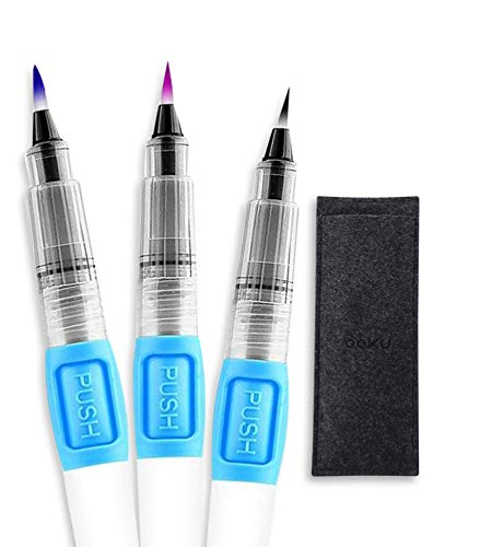 OOKU 3 Pcs Watercolor Brush Pens Set   Water Color Paint Brush Pens Detailed with Fine Tip Nylon - Refillable & Tunable Water Brush Pens for Coloring, Art, Painting, Lettering