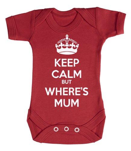 Baby Buddha - Keep Calm But Wheres Mum Body bébé/Barboteuses bébé 3-6 Mois Rouge