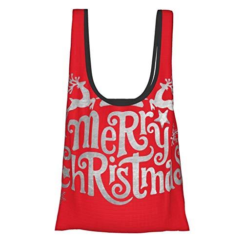 """Bolsas de compras reutilizables con texto en inglés """"Merry Christmas Joy To The World"""", plegables, impermeables, reutilizables, lavables, duraderas y ligeras"""