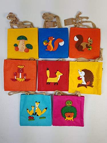 wuselwelt 64673, 24 Filztaschen mit 3D Applikationen, Motiven, Tiere, Herbst, Weihnachten, Basteln, Geschenksack, Geschenktasche, Filztasche, Waldtiere, Waldfrüchte