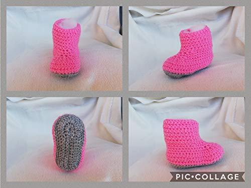 Häkelanleitung Babyschuhe rosa/grau Sohlenlänge 10 cm: Ideal für Anfänger