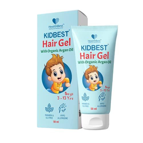HealthBest Kidbest Hair Gel for Kids Hair Styling | Made with Organic Argan Oil, Kertine & Moringa Oil | Hair Growth | Damaged Hair | Tear, Paraben, SLS free | 50ml
