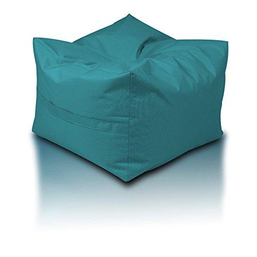 Pouf cube Polyester imperméable pour extérieur XXL 60 x 60 x 45 cm turquoise