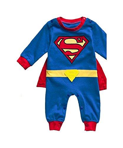 DS (Gr. 68-86) niedlicher SUPERMAN OVERALL SPIEL-ANZUG Held Hero Schlafanzug (86)