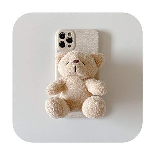 Funda de felpa para iPhone 11 Pro Max 7 8plus Xr Xs Max X 12 Mini SE, diseño de oso de dibujos animados