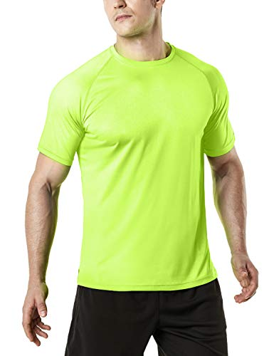 TSLA Men's Workout Running Shirts, Quick Dry Cool-Dri Short Sleeve Athletic Shirts, Active Sport Gym T-Shirts, Active Hyper Dri(mts30) - Neon Yellow, Large
