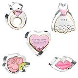Olywee - Set di 5 stampi per biscotti a forma di cuore, labbra, anello, abito da sposa, rose Flower, per matrimonio, San Valentino, fondente, pasticceria e biscotti