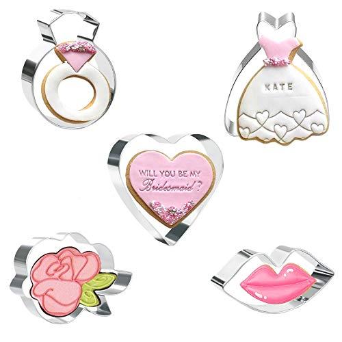 Olywee - Juego de 5 cortadores de galletas para el día de San Valentín con cortadores de galletas de acero inoxidable (anillo de labios de corazón, vestido de boda, flor de rosa)