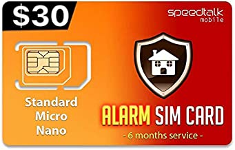 $30 GSM Alarm SIM Card | Home - Business Security Alarm System | No Contract - 6 Months Wireless Service (2G 3G 4G LTE)