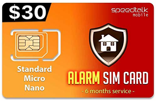$30 GSM Alarm SIM Card | Home - Business Security Alarm System | No Contract - 6 Months Wireless Service (4G LTE)