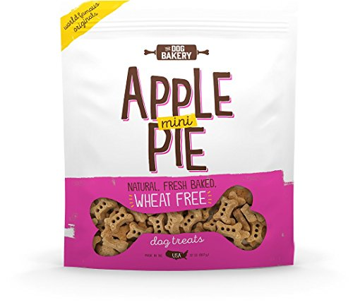 The Dog Bakery Wheat Free Bones Natural Made in USA Healthy Dog Treats Biscuits Bone Small Mini Great Training Limited Ingredients Crunchy Real Apples Cinnamon (Apple Pie, 2 LB Bag, Mini Size Bones)