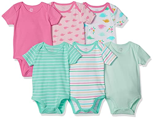 Amazon Essentials 6-Pack Short-Sleeve Bodysuit, infant-and-toddler-layette-sets Bebé-Niñas, Girl Dino, 50 (Talla fabricante: US NB )