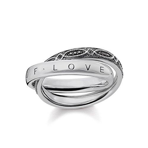 Thomas Sabo anillo de mujer infinito de amor 925plata de ley, circonitas Pave negro ennegrecido tr2136–643–11, Plata-esterlina, silver, black, 54