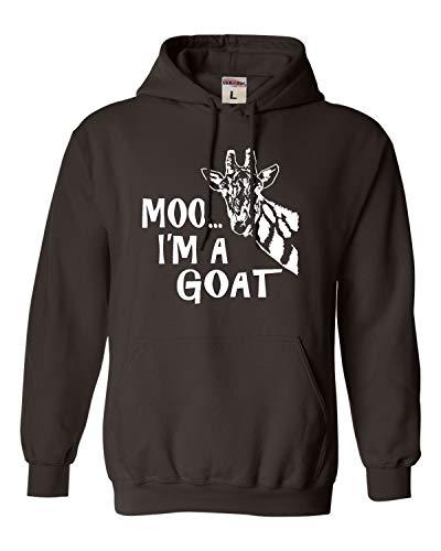 Large Chocolate Adult Moo.I'm A Goat Funny Animal Sweatshirt Hoodie