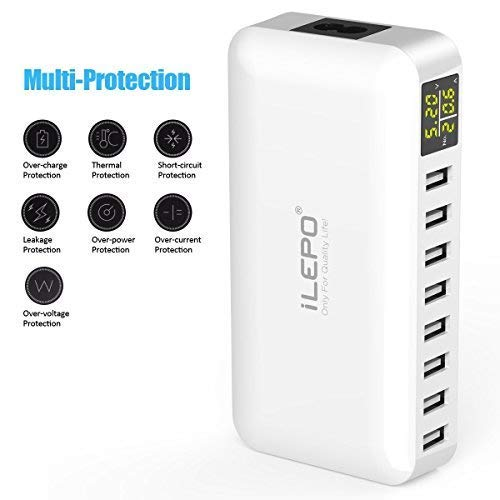 iLepo USB Charging Station 8-Port Charger Plug with LCD Display Voltage Meter Monitor 50W Max 8A Desktop Portable USB Wall Charger for Smart PhoneTablets,Camera, PowerBanks And More (USB hub-It)