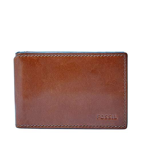 Fossil mens Hugh Leather Rfid Blocking Money Clip Bifold Wallet, Cognac, One Size US
